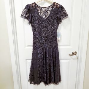 NWT HW Collections Vintage Black Sequin Lace Dress
